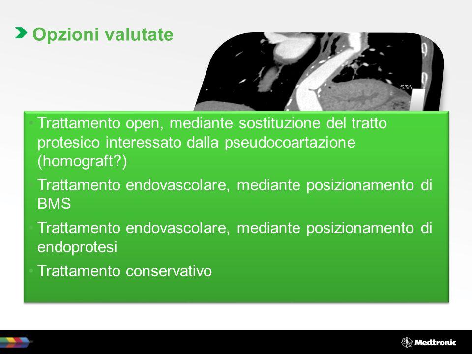 Trattamento open, mediante sostituzione del tratto protesico interessato dalla pseudocoartazione (homograft?) Trattamento endovascolare, mediante posi