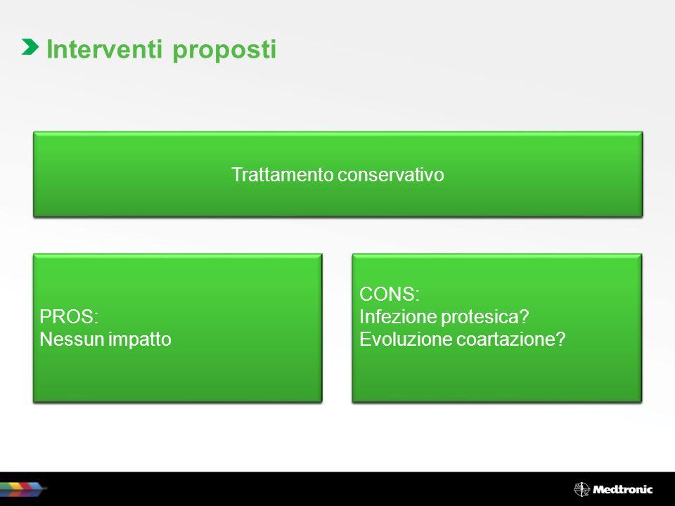 Interventi proposti Trattamento open, mediante sostituzione del tratto protesico interessato dalla pseudocoartazione (homograft?) PROS: Trattamento de