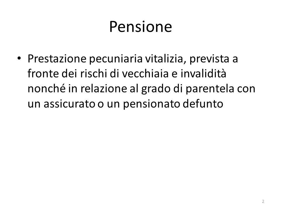 Pensione Prestazione pecuniaria vitalizia, prevista a fronte dei rischi di vecchiaia e invalidità nonché in relazione al grado di parentela con un ass