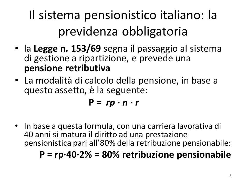 Il sistema pensionistico italiano: la previdenza obbligatoria la Legge n. 153/69 segna il passaggio al sistema di gestione a ripartizione, e prevede u