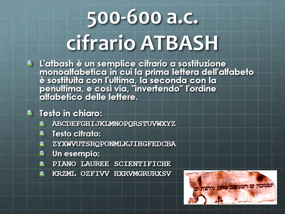 500-600 a.c. cifrario ATBASH L'atbash è un semplice cifrario a sostituzione monoalfabetica in cui la prima lettera dell'alfabeto è sostituita con l'ul