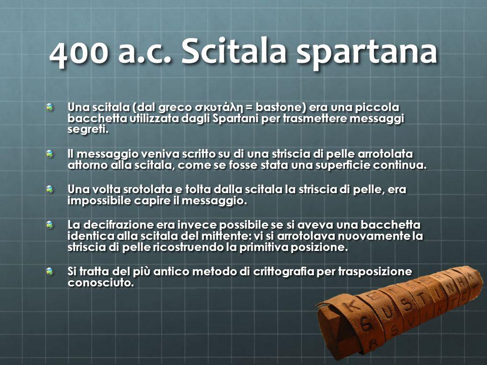 400 a.c. Scitala spartana Una scitala (dal greco σκυτάλη = bastone) era una piccola bacchetta utilizzata dagli Spartani per trasmettere messaggi segre