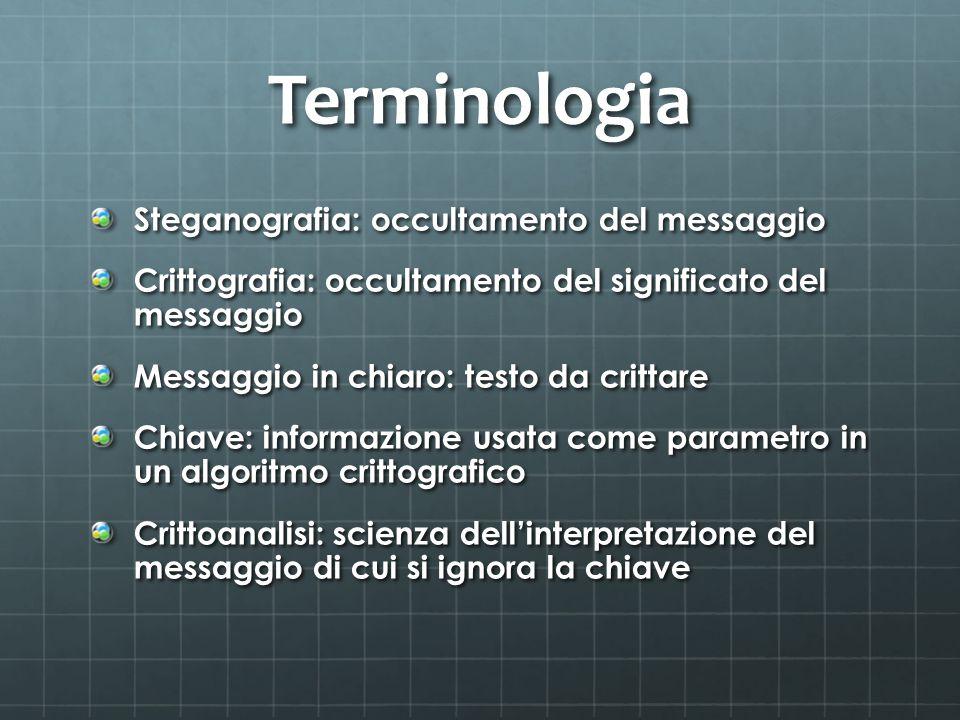 Terminologia Steganografia: occultamento del messaggio Crittografia: occultamento del significato del messaggio Messaggio in chiaro: testo da crittare
