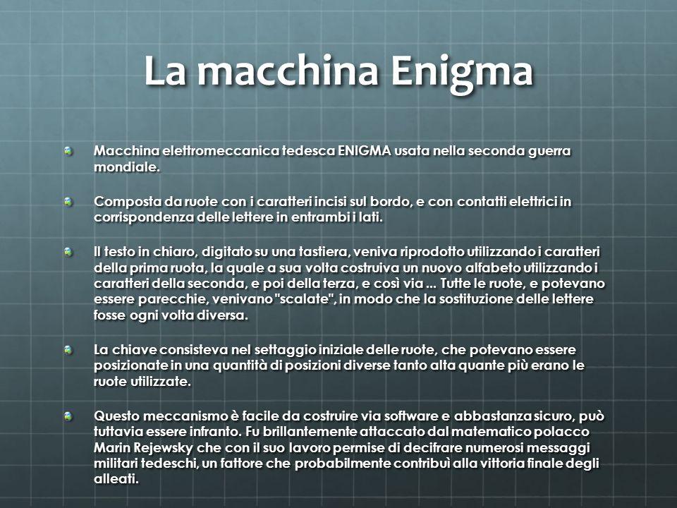 La macchina Enigma Macchina elettromeccanica tedesca ENIGMA usata nella seconda guerra mondiale. Composta da ruote con i caratteri incisi sul bordo, e