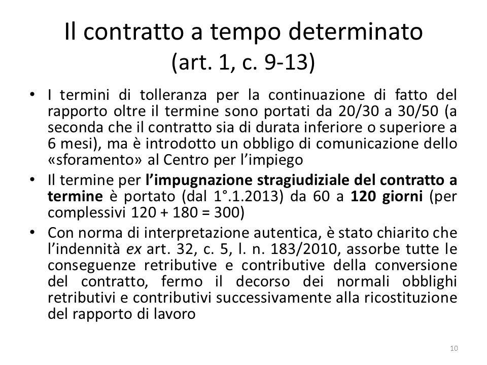 Il contratto a tempo determinato (art. 1, c. 9-13) I termini di tolleranza per la continuazione di fatto del rapporto oltre il termine sono portati da