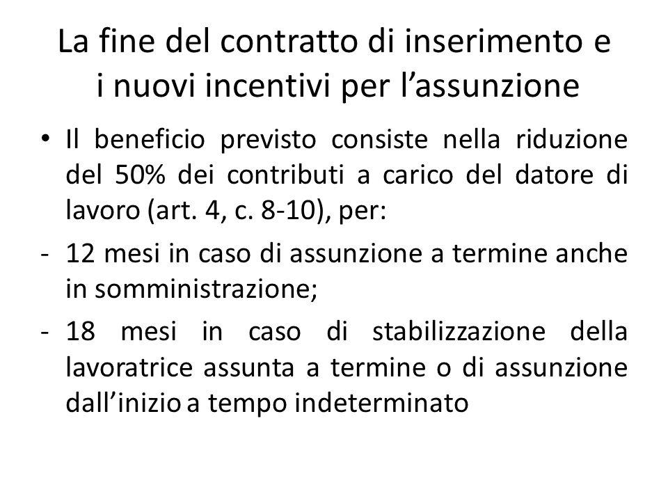 La fine del contratto di inserimento e i nuovi incentivi per lassunzione Il beneficio previsto consiste nella riduzione del 50% dei contributi a caric