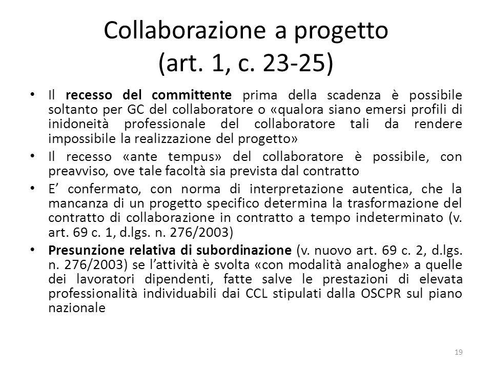 Collaborazione a progetto (art. 1, c. 23-25) Il recesso del committente prima della scadenza è possibile soltanto per GC del collaboratore o «qualora