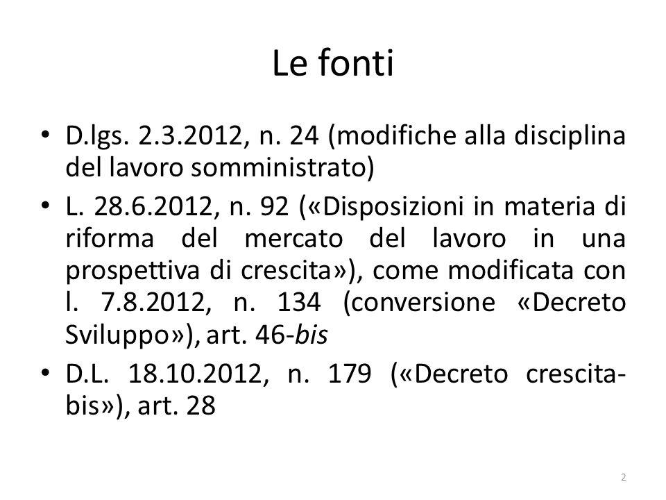 Le fonti D.lgs. 2.3.2012, n. 24 (modifiche alla disciplina del lavoro somministrato) L. 28.6.2012, n. 92 («Disposizioni in materia di riforma del merc