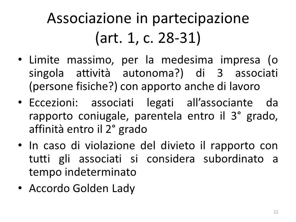 Associazione in partecipazione (art. 1, c. 28-31) Limite massimo, per la medesima impresa (o singola attività autonoma?) di 3 associati (persone fisic