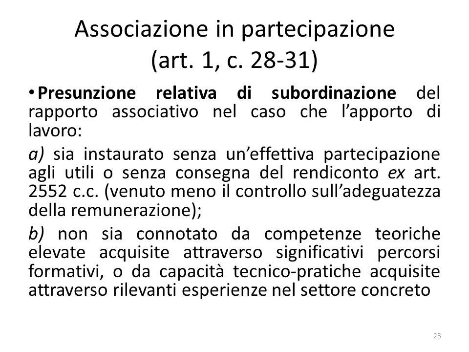 Associazione in partecipazione (art. 1, c. 28-31) Presunzione relativa di subordinazione del rapporto associativo nel caso che lapporto di lavoro: a)