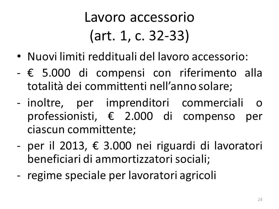 Lavoro accessorio (art. 1, c. 32-33) Nuovi limiti reddituali del lavoro accessorio: - 5.000 di compensi con riferimento alla totalità dei committenti
