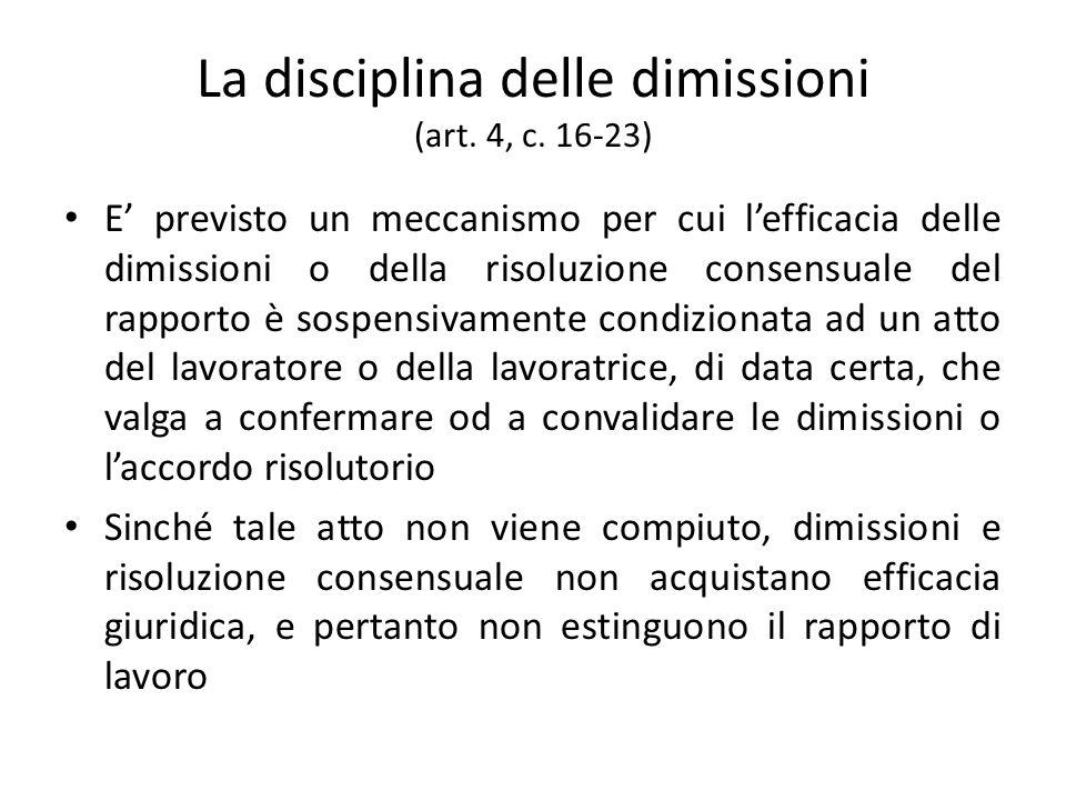 La disciplina delle dimissioni (art. 4, c. 16-23) E previsto un meccanismo per cui lefficacia delle dimissioni o della risoluzione consensuale del rap