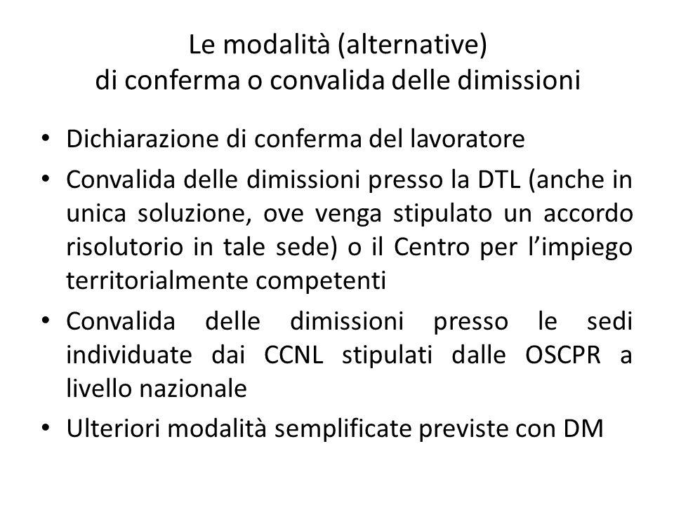 Le modalità (alternative) di conferma o convalida delle dimissioni Dichiarazione di conferma del lavoratore Convalida delle dimissioni presso la DTL (