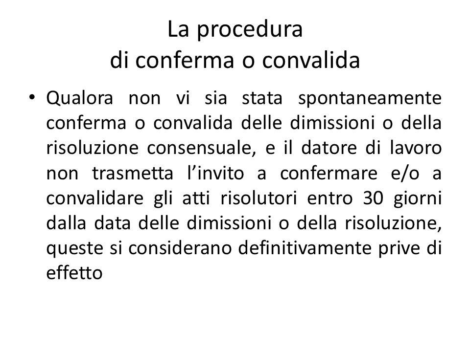 La procedura di conferma o convalida Qualora non vi sia stata spontaneamente conferma o convalida delle dimissioni o della risoluzione consensuale, e