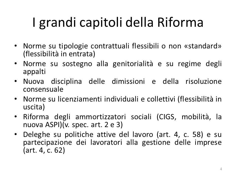 I grandi capitoli della Riforma Norme su tipologie contrattuali flessibili o non «standard» (flessibilità in entrata) Norme su sostegno alla genitoria