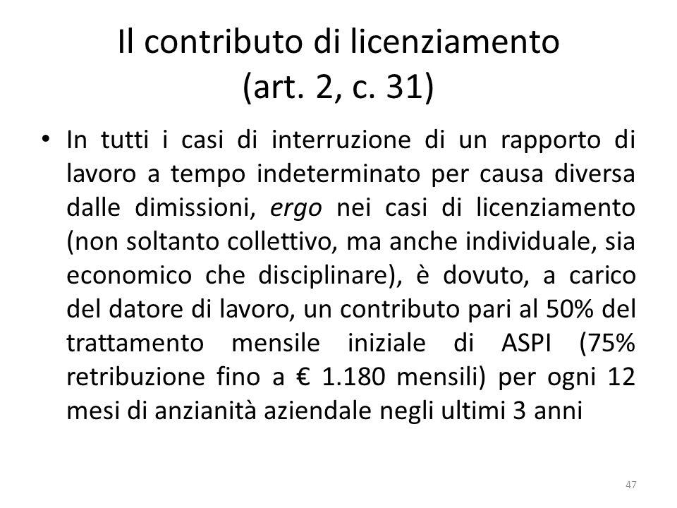 Il contributo di licenziamento (art. 2, c. 31) In tutti i casi di interruzione di un rapporto di lavoro a tempo indeterminato per causa diversa dalle