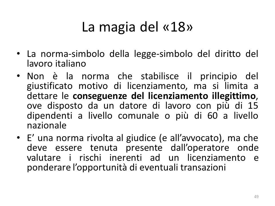 La magia del «18» La norma-simbolo della legge-simbolo del diritto del lavoro italiano Non è la norma che stabilisce il principio del giustificato mot