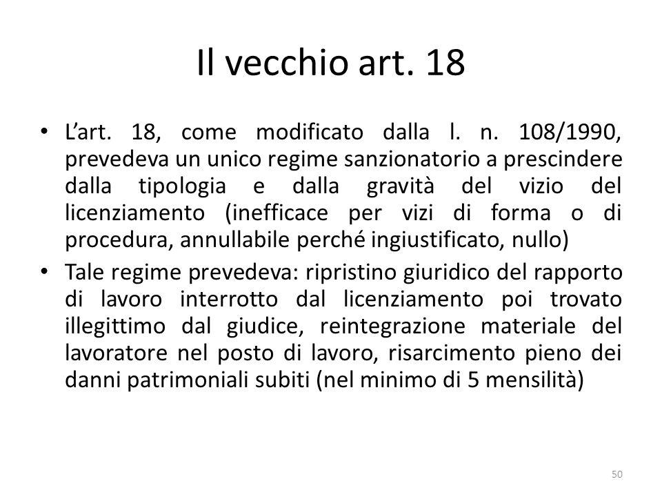 Il vecchio art. 18 Lart. 18, come modificato dalla l. n. 108/1990, prevedeva un unico regime sanzionatorio a prescindere dalla tipologia e dalla gravi