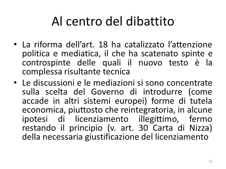 Al centro del dibattito La riforma dellart. 18 ha catalizzato lattenzione politica e mediatica, il che ha scatenato spinte e controspinte delle quali