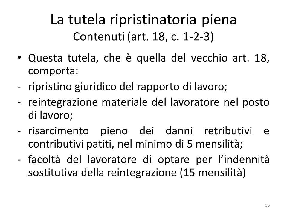 La tutela ripristinatoria piena Contenuti (art. 18, c. 1-2-3) Questa tutela, che è quella del vecchio art. 18, comporta: -ripristino giuridico del rap