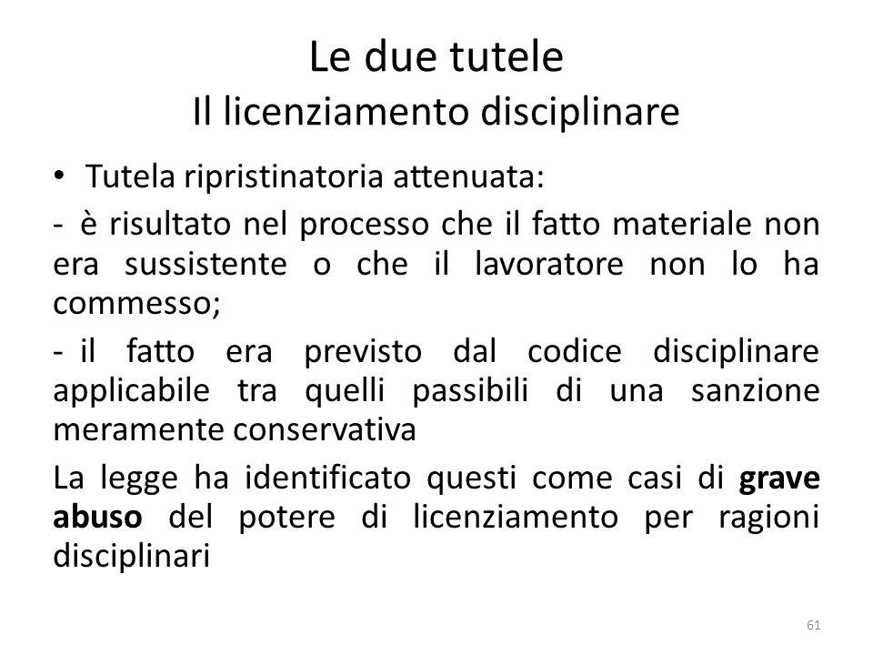 Le due tutele Il licenziamento disciplinare Tutela ripristinatoria attenuata: - è risultato nel processo che il fatto materiale non era sussistente o