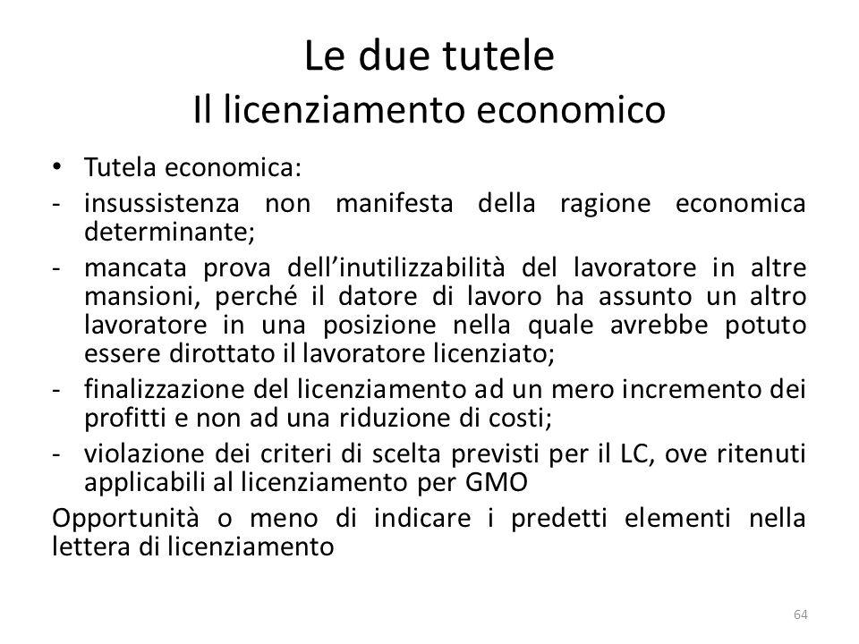 Le due tutele Il licenziamento economico Tutela economica: -insussistenza non manifesta della ragione economica determinante; -mancata prova dellinuti