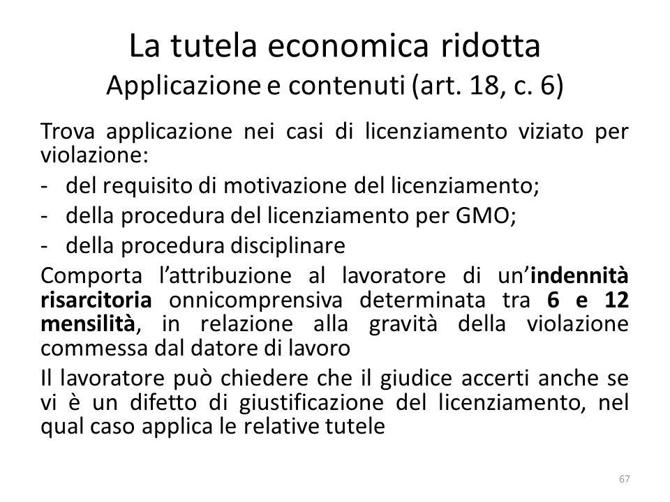 La tutela economica ridotta Applicazione e contenuti (art. 18, c. 6) Trova applicazione nei casi di licenziamento viziato per violazione: -del requisi