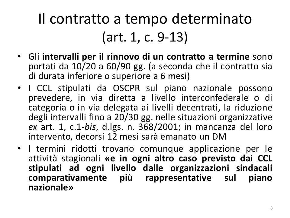 Il contratto a tempo determinato (art. 1, c. 9-13) Gli intervalli per il rinnovo di un contratto a termine sono portati da 10/20 a 60/90 gg. (a second