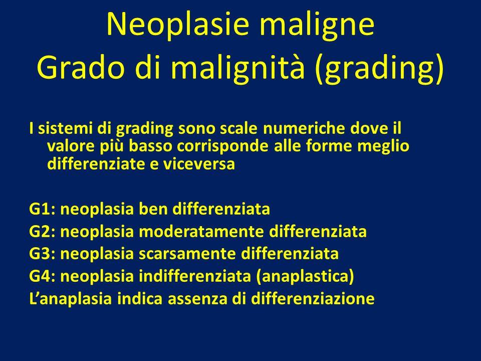 Neoplasie maligne Grado di malignità (grading) I sistemi di grading sono scale numeriche dove il valore più basso corrisponde alle forme meglio differ