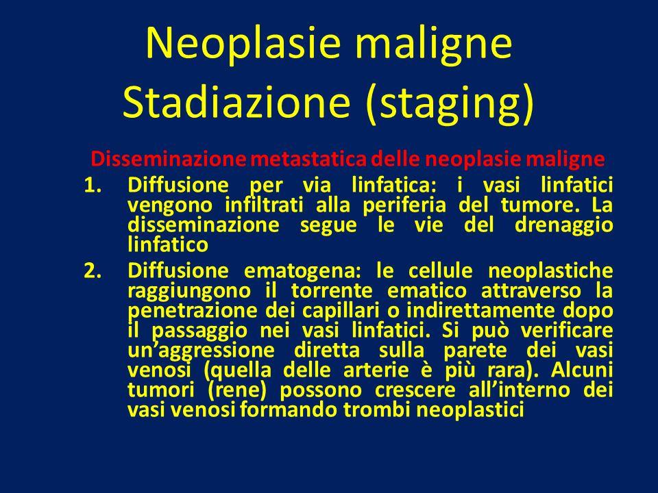Neoplasie maligne Stadiazione (staging) Disseminazione metastatica delle neoplasie maligne 1.Diffusione per via linfatica: i vasi linfatici vengono in