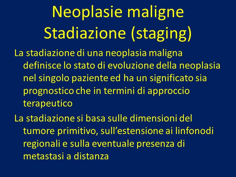 Neoplasie maligne Stadiazione (staging) La stadiazione di una neoplasia maligna definisce lo stato di evoluzione della neoplasia nel singolo paziente