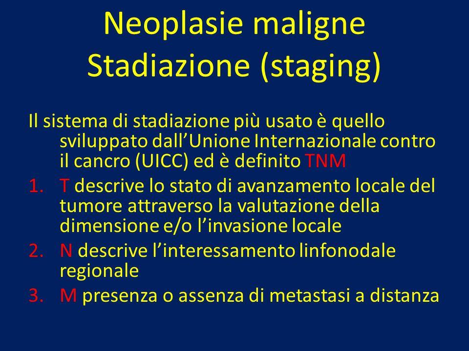 Neoplasie maligne Stadiazione (staging) Il sistema di stadiazione più usato è quello sviluppato dallUnione Internazionale contro il cancro (UICC) ed è