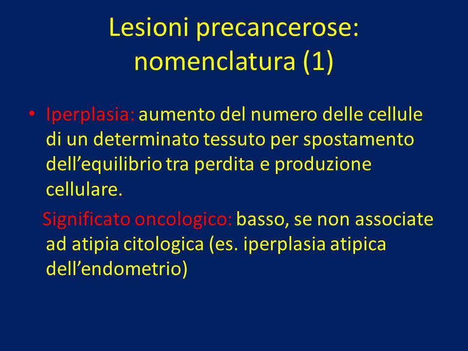 Lesioni precancerose: nomenclatura (1) Iperplasia: aumento del numero delle cellule di un determinato tessuto per spostamento dellequilibrio tra perdi