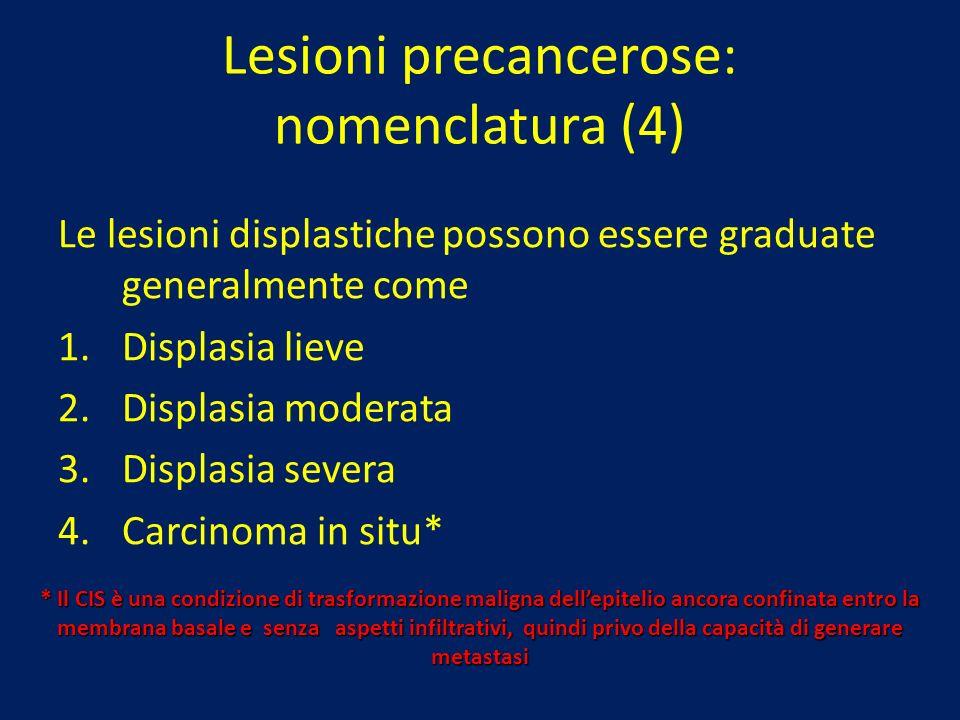 Lesioni precancerose: nomenclatura (4) Le lesioni displastiche possono essere graduate generalmente come 1.Displasia lieve 2.Displasia moderata 3.Disp