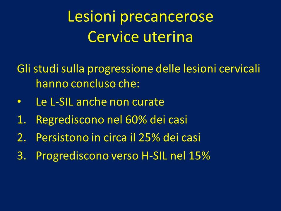 Lesioni precancerose Cervice uterina Gli studi sulla progressione delle lesioni cervicali hanno concluso che: Le L-SIL anche non curate 1.Regrediscono