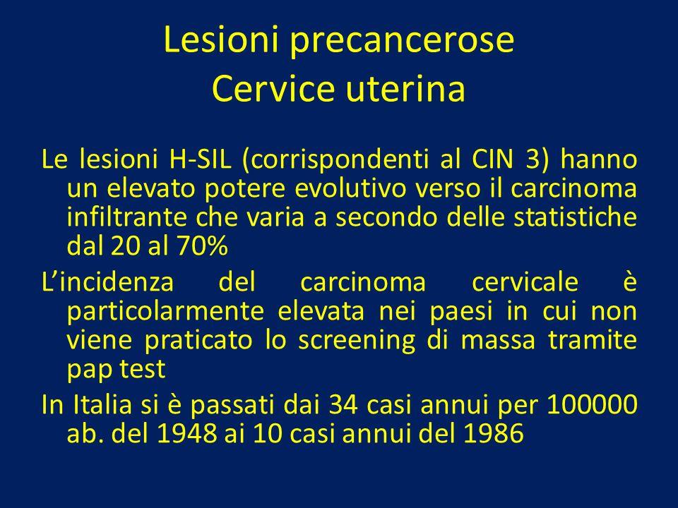 Lesioni precancerose Cervice uterina Le lesioni H-SIL (corrispondenti al CIN 3) hanno un elevato potere evolutivo verso il carcinoma infiltrante che v