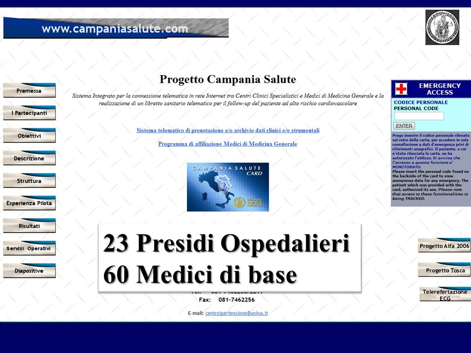 23 Presidi Ospedalieri 60 Medici di base 23 Presidi Ospedalieri 60 Medici di base