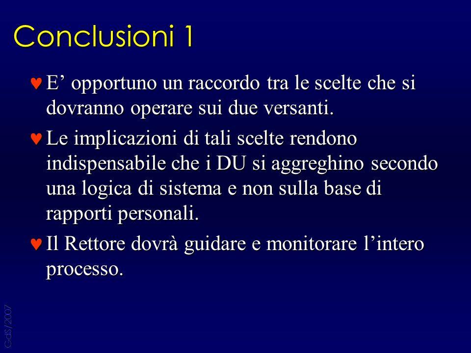 Conclusioni 1 E opportuno un raccordo tra le scelte che si dovranno operare sui due versanti.
