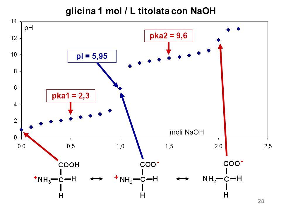 glicina 1 mol / L titolata con NaOH pka1 = 2,3 pka2 = 9,6 pH moli NaOH pI = 5,95 28