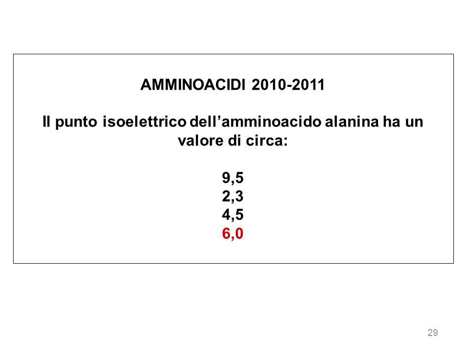 29 AMMINOACIDI 2010-2011 Il punto isoelettrico dellamminoacido alanina ha un valore di circa: 9,5 2,3 4,5 6,0