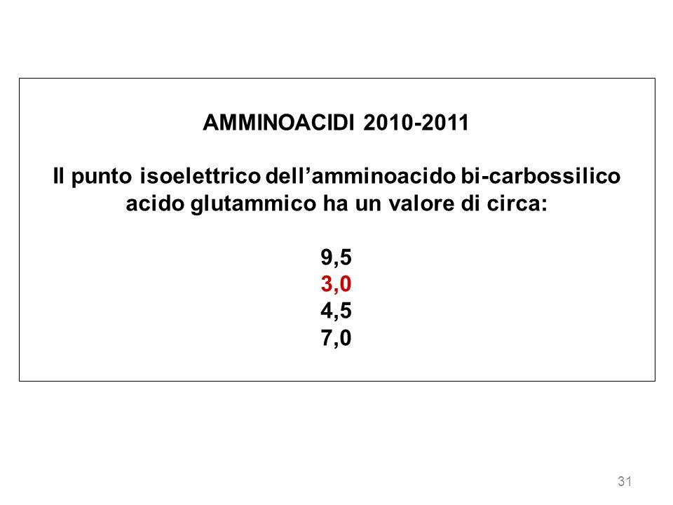 31 AMMINOACIDI 2010-2011 Il punto isoelettrico dellamminoacido bi-carbossilico acido glutammico ha un valore di circa: 9,5 3,0 4,5 7,0