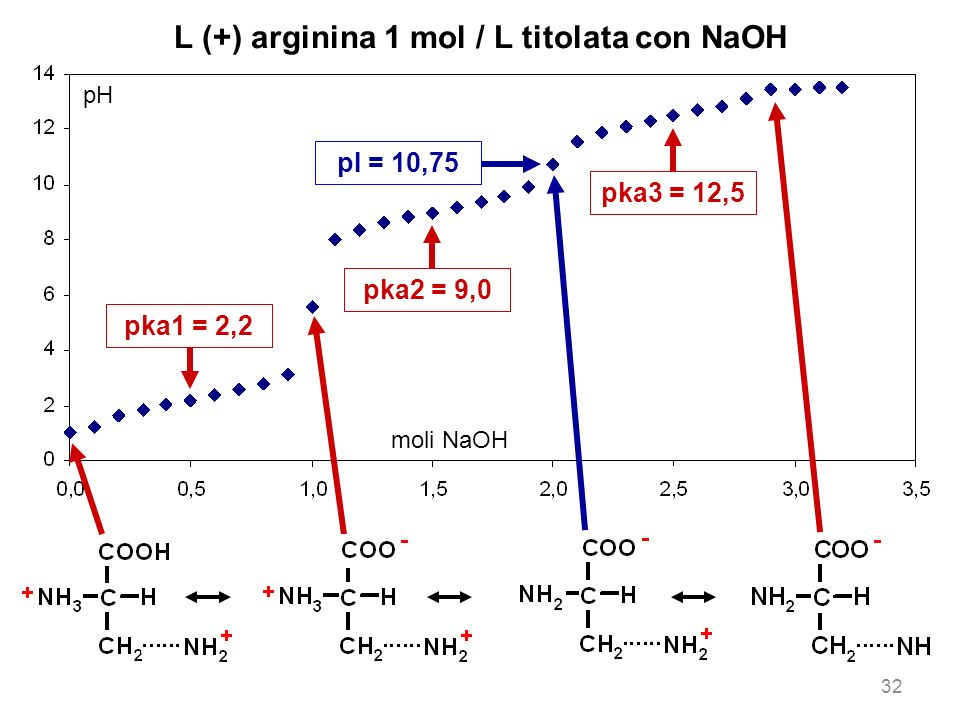L (+) arginina 1 mol / L titolata con NaOH pH moli NaOH pka1 = 2,2 pka2 = 9,0 pka3 = 12,5 pI = 10,75 32