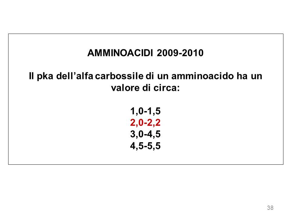 38 AMMINOACIDI 2009-2010 Il pka dellalfa carbossile di un amminoacido ha un valore di circa: 1,0-1,5 2,0-2,2 3,0-4,5 4,5-5,5