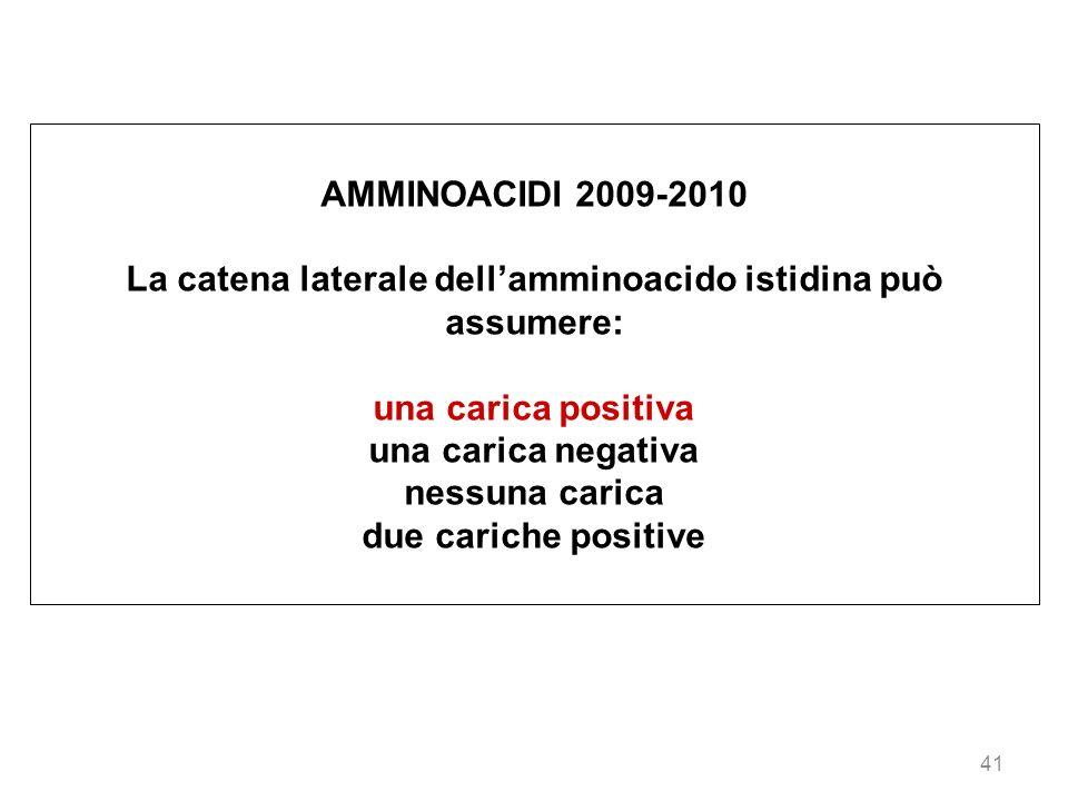 41 AMMINOACIDI 2009-2010 La catena laterale dellamminoacido istidina può assumere: una carica positiva una carica negativa nessuna carica due cariche