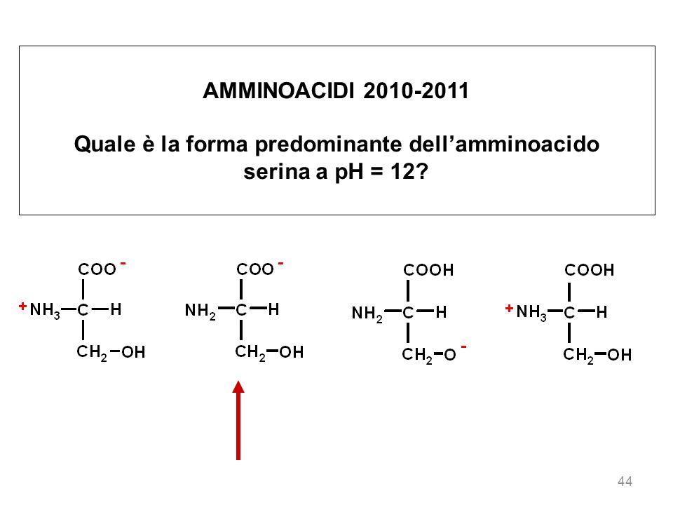 44 AMMINOACIDI 2010-2011 Quale è la forma predominante dellamminoacido serina a pH = 12?