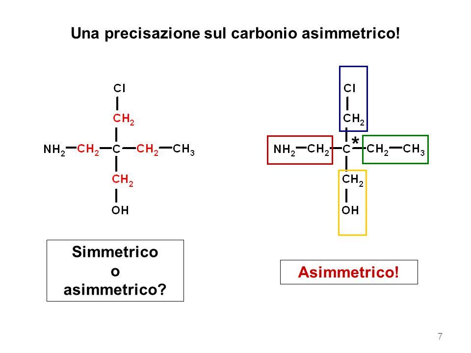 Una precisazione sul carbonio asimmetrico! * Simmetrico o asimmetrico? Asimmetrico! 7