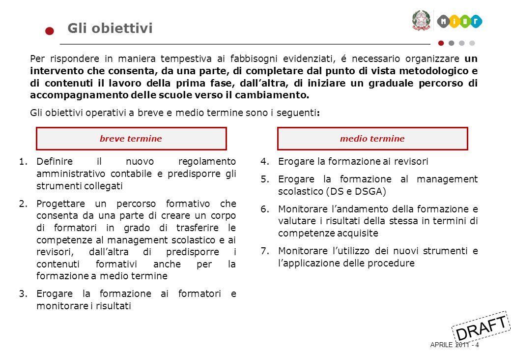 APRILE 2011 - 5 DRAFT Il piano di lavoro complessivo Per raggiungere gli obiettivi evidenziati, appare necessario progettare un intervento basato su due linee di lavoro principali, che si svilupperanno su più anni.
