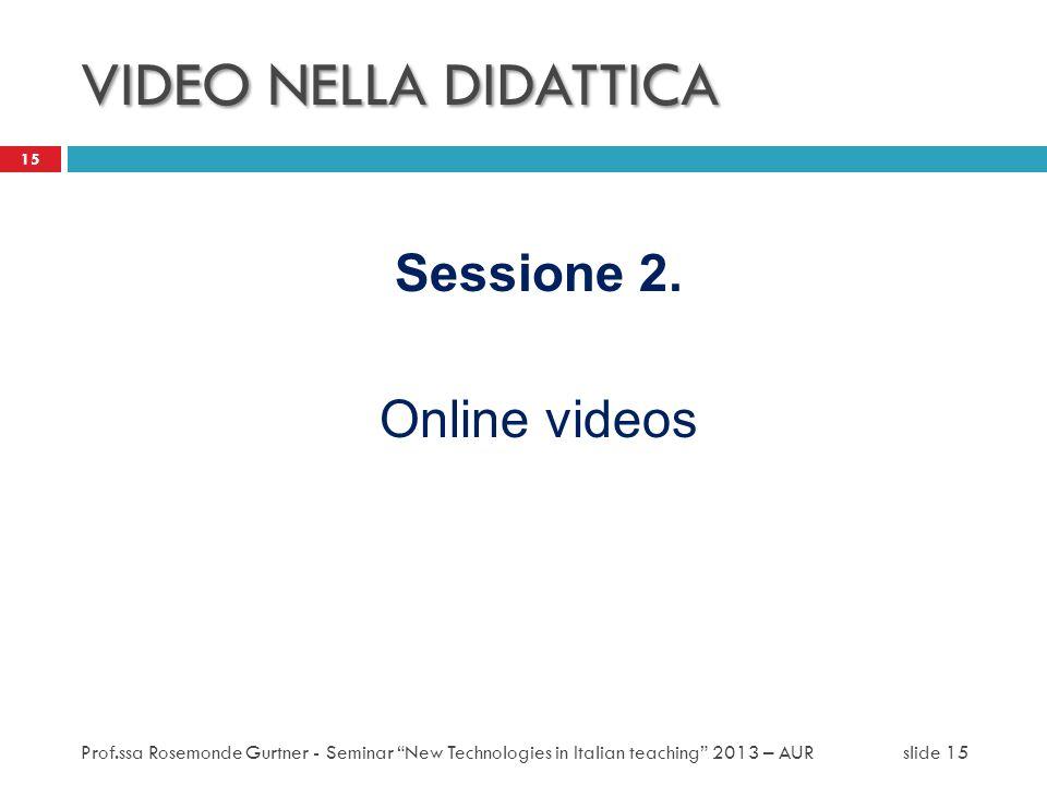 VIDEO NELLA DIDATTICA Sessione 2. Online videos 15 Prof.ssa Rosemonde Gurtner - Seminar New Technologies in Italian teaching 2013 – AUR slide 15