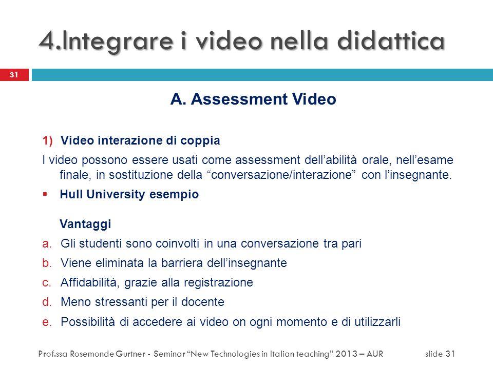 A. Assessment Video 1)Video interazione di coppia I video possono essere usati come assessment dellabilità orale, nellesame finale, in sostituzione de