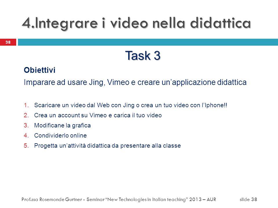Task 3 Obiettivi Imparare ad usare Jing, Vimeo e creare unapplicazione didattica 1.Scaricare un video dal Web con Jing o crea un tuo video con lIphone